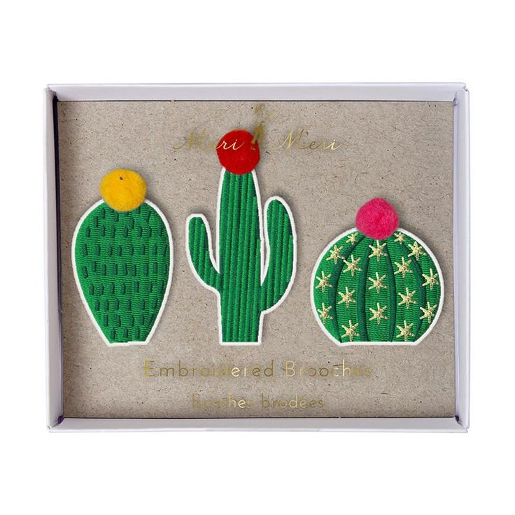 These cute brooches come with a spikey theme. Each cactus brooch is crafted with embroidered fabric and colored pom-poms for a bright, fun effect. - Pack contains 3 brooches in 3 styles - Pack size: 4
