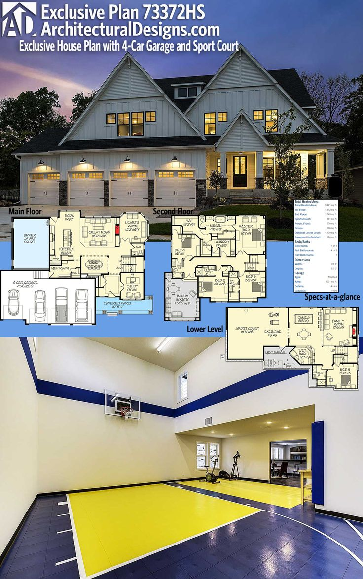 45 best house plans with sport courts images on pinterest dream architectural designs exclusive house plan 73372hs has a lower level sports court and gives you