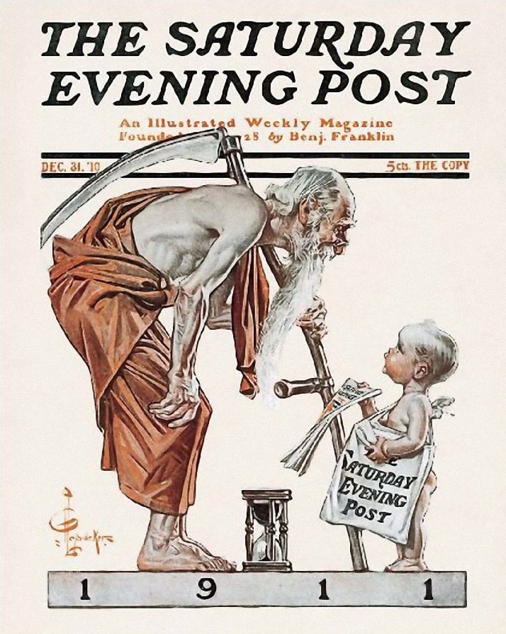 The Saturday Evening Post, New Year's BabyPost 1911, Goddesses Direction, Fathers Time, Saturday Evening Post, Covers Art, Magazines Covers, Leyendecker, New Years, Post Covers