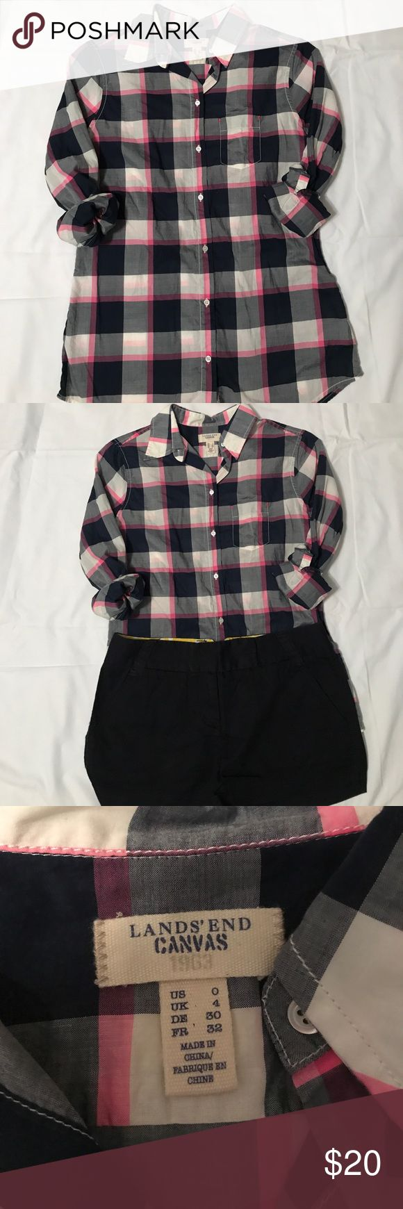 Lands End Canvas button up This pink, blue and white buffalo checked button up is super soft! It is light weight which makes it perfect for spring or summer. Pair it with navy, denim or white jeans or pants. This has barely been worn. In perfect condition. Lands' End Tops Button Down Shirts