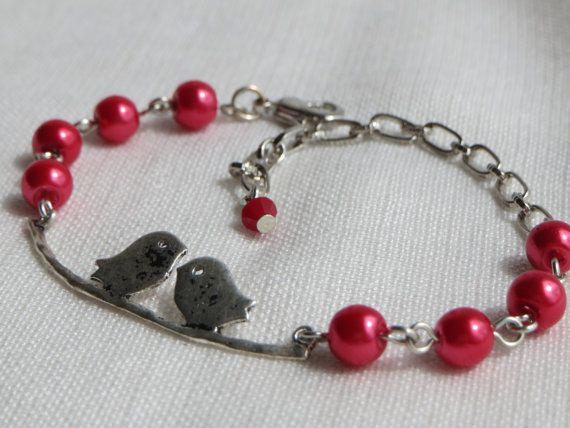 Birdie Bracelet  Silver Lovebirds Charm  Cranberry Red by Thielen, $15.95