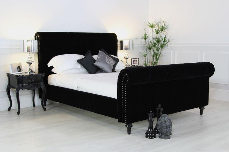 black upholstered sleigh bed. Black Upholstered Sleigh Bed V
