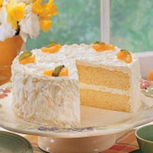 Mandarin Orange Cake  Loved this easy to make cake. I added vanilla pudding and crushed pineapple in between layers for a yummier, sweeter cake.