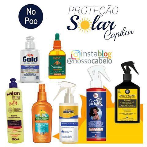 Proteção Solar Capilar  Gente, que calor é esse?! Aqui no Rio de Janeiro estamos quase torrando. Vamos aproveitar para dar algumas dicas de produtos para proteger o cabelo desse Sol?! VamU lá!  Todos liberados para NO POO e LOW POO ✅  1. Creme para pentear da Niely Gold Extra Brilho Partículas de Brilho e filtro UV  2. Pinga! da Lola Cosmetics Cenoura e Oliva Óleo Pré e Pós Sol  3. Creme Multifuncional Multy da Salon Line Nutrição, Brilho, Maciez e Proteção UV  4. Spray Protetor Capi...