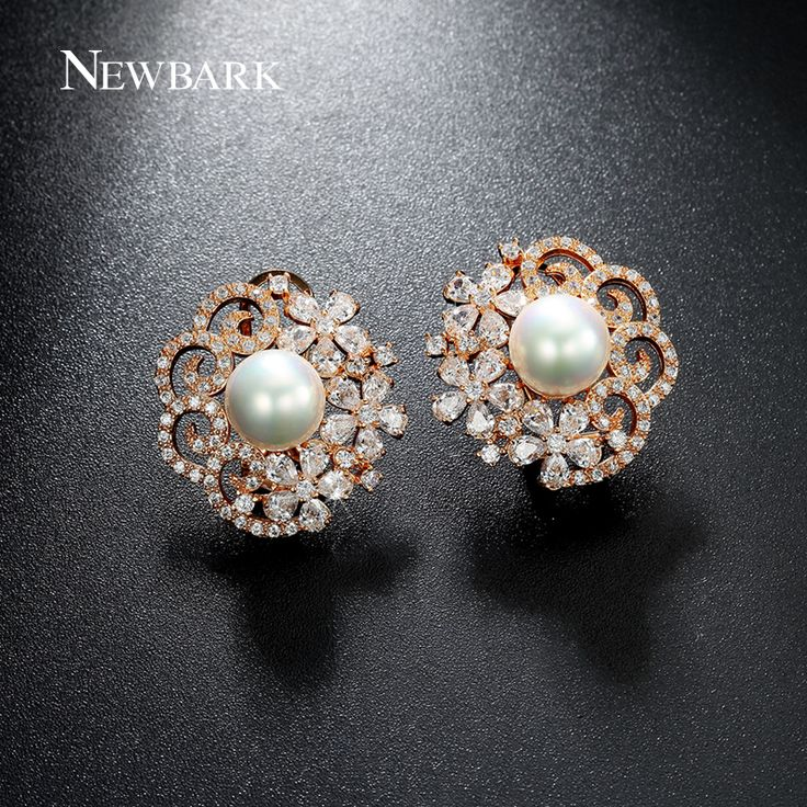 Price Tracker And History Of Newbark Simulated Pearl Stud Earrings Flower Rose Gold Plated Hollow Earring Tiny Cz Diamond Jewelry For Women Brincos Gift
