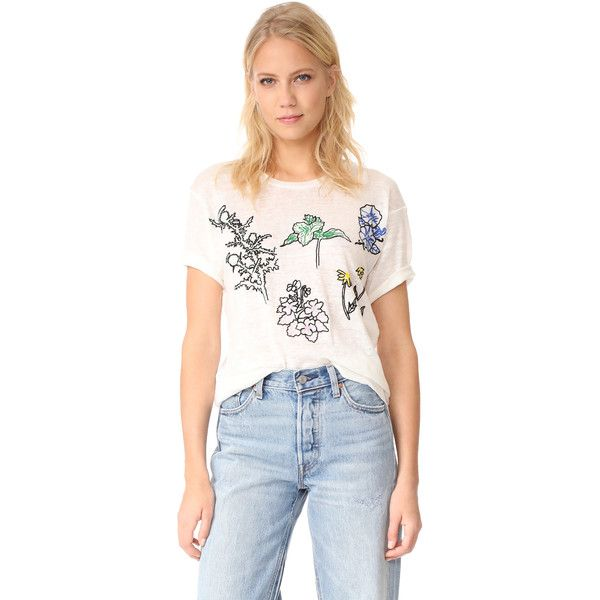 Banner Day Flowers of the Great Lakes Tee ($175) ❤ liked on Polyvore featuring tops, t-shirts, bone, embroidered t shirts, slouchy t shirt, multi color t shirts, flower t shirt and jersey tee