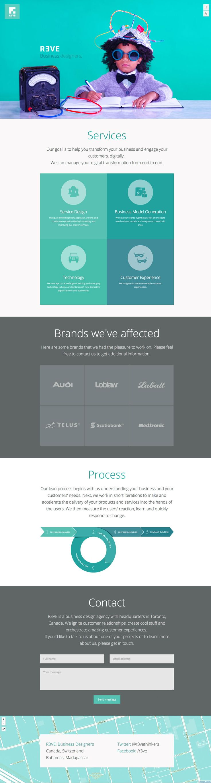 What an awesome intro image to this responsive flat designed one pager for Rêve digital agency.