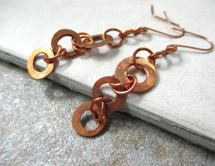 Long Earrings, Rustic Copper Shoulder Duster Dangles, Boho Jewelry, Eco Friendly Hammered Metal