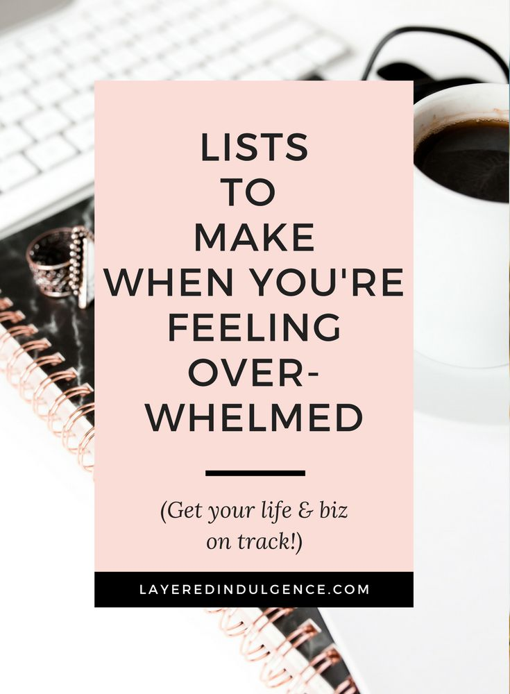 Making lists is one of the best things to do when organizing your ideas and thoughts. Life can get crazy and it helps to make lists to keep yourself on track in your personal and business life! Get your creative juices flowing and check out these lists to make when you're feeling overwhelmed! Click through to read the post now and save it for others to check out too!