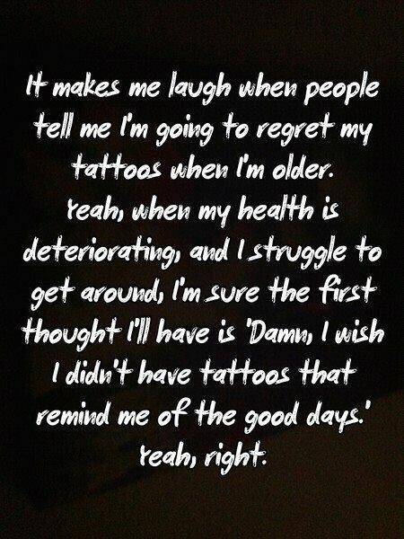 So true!  Plus, I'll be so cold then that all my tattoos will be covered with layers of sweaters!