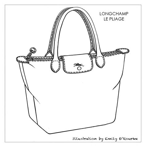 LONGCHAMP - LE PLIAGE BAG - Designer Handbag Illustration / Sketch / Drawing / CAD / Borsa Disegno
