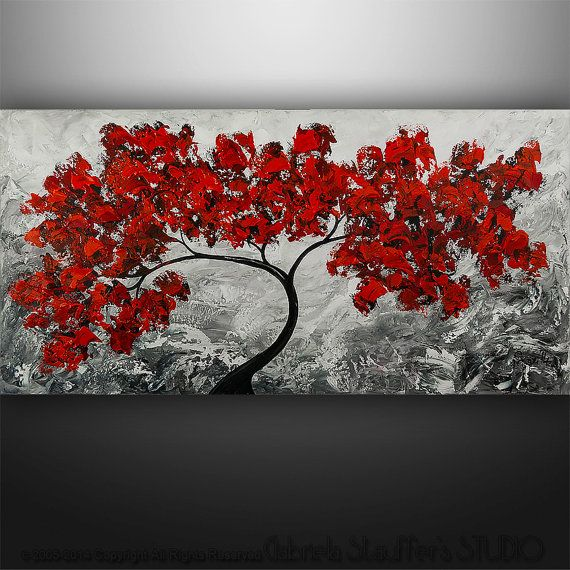 """Abstract Painting Original Acrylic Modern Landscape Tree Palette Knife Art by Gabriela 48""""x24"""" Painting Black White Red Painting"""