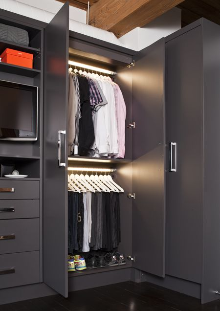 House & Home closet - might be cool to paint Rick's closet a dark grey like this - very manly!