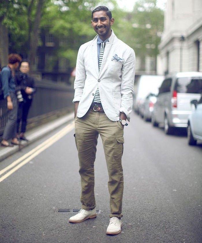 comment porter le pantalon cargo homme élégant kaki coton