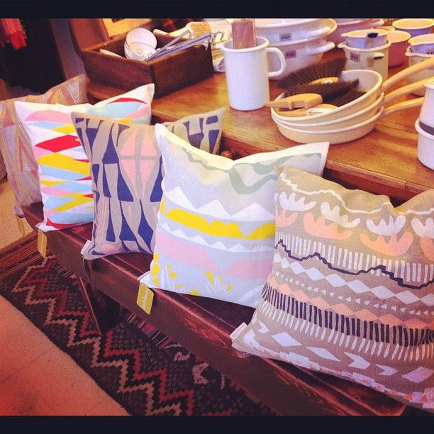 Leah Duncan Toss Cushions. Screenprinted, 100% linen, water based ink, made in Austin, Texas full on goodness!!