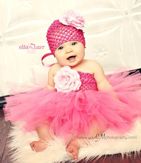 Beautiful Pink Tutu, Infant Tutu, Baby Tutu, Toddler Tutu Dress with Matching Flower Hat OR Headband