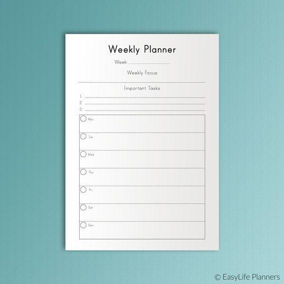 Printable Weekly Planner Undated A4 Binder Inserts Weekly