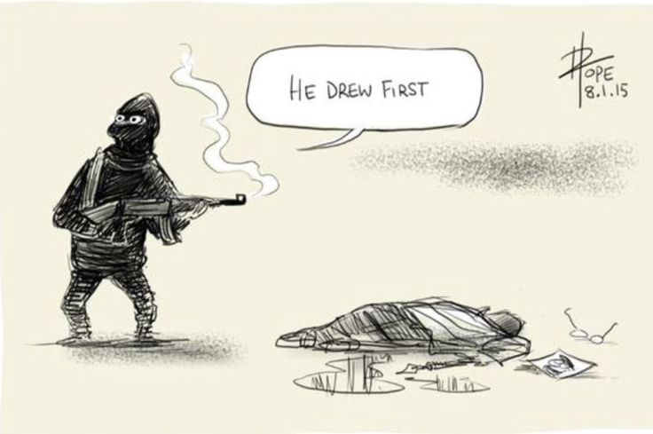 This by Dave Pope is one of my very favourite responses to #JeSuisCharlie poignant, sad reflecting the terrible pointless waste of life