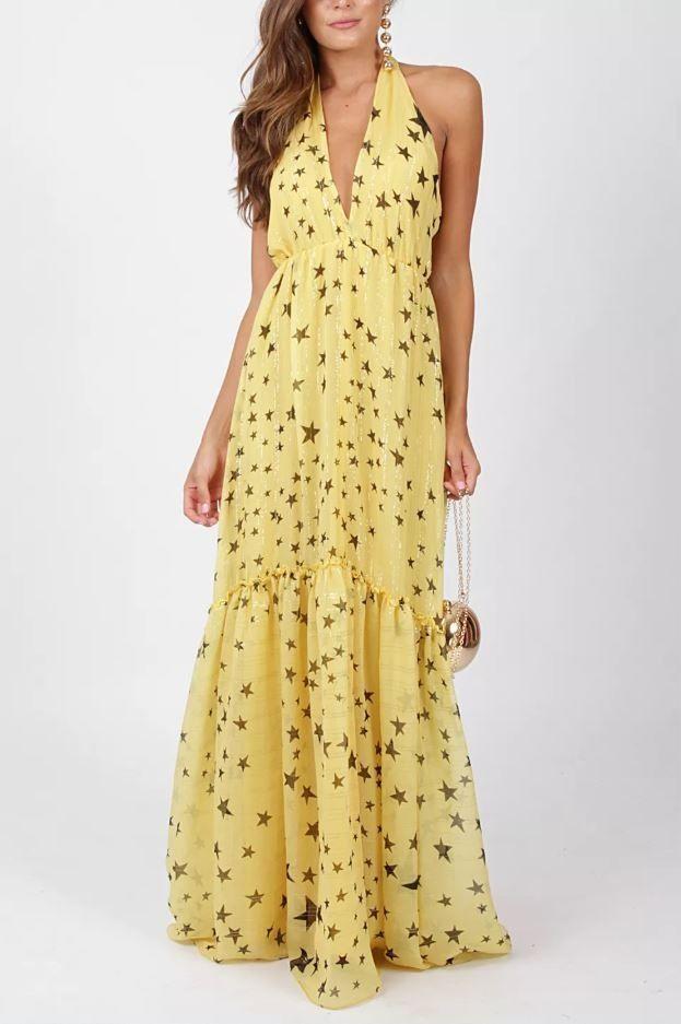 74757e1e4 VESTIDO ESTRELA ATEEN - Vestido longo em seda. A peça tem fios de lurex  dourado