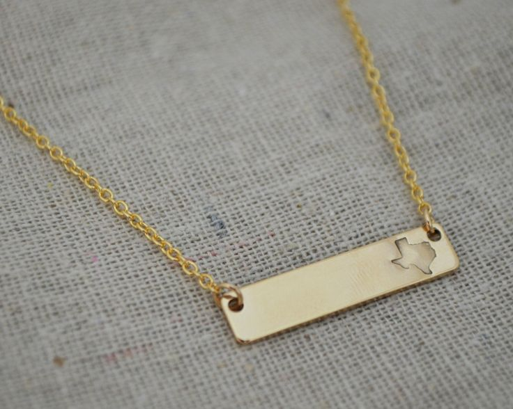 Personalize your Texas necklace or keep this little beauty simple. Great necklace for layering! Our custom Texas stamp, you won't find this anywhere else! Available in sterling silver, gold fill and 1