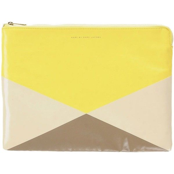 Marc By Marc Jacobs Handbag (5.810 CZK) ❤ liked on Polyvore featuring bags, handbags, clutches, yellow, pu handbags, multi colored clutches, multi color handbag, marc by marc jacobs purse and colorful clutches
