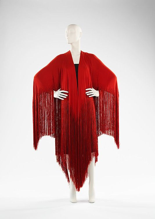 Madeleine Vionnet (French, 1876–1975). Shawl, Evening, ca. 1925. French. The Metropolitan Museum of Art, NY. The fringed shawl was a fashion mainstay of the 1920s.
