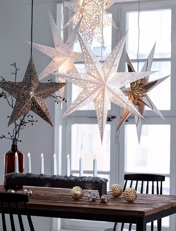 Unique Christmas Star Decorations Ideas On Pinterest - Decorating dining room christmas white silver christmas palette