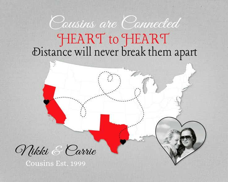 Custom Gift for Cousin, Long Distance Quote, Birthday Present for Cousin, Moving Away Gift Idea, US Map with Photo, Heart to Heart by KeepsakeMaps on Etsy  #CousinGift #RedWhiteGray #LongDistancePresent #USMapPrint