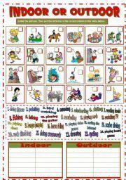 English worksheet: INDOOR or OUTDOOR ACTIVITIES (B&W + KEY)   Things ...