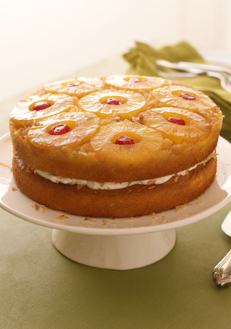 Pineapple Coconut Upside-Down Layered Cake-This special-occasion cake is sure to become a new family favorite.