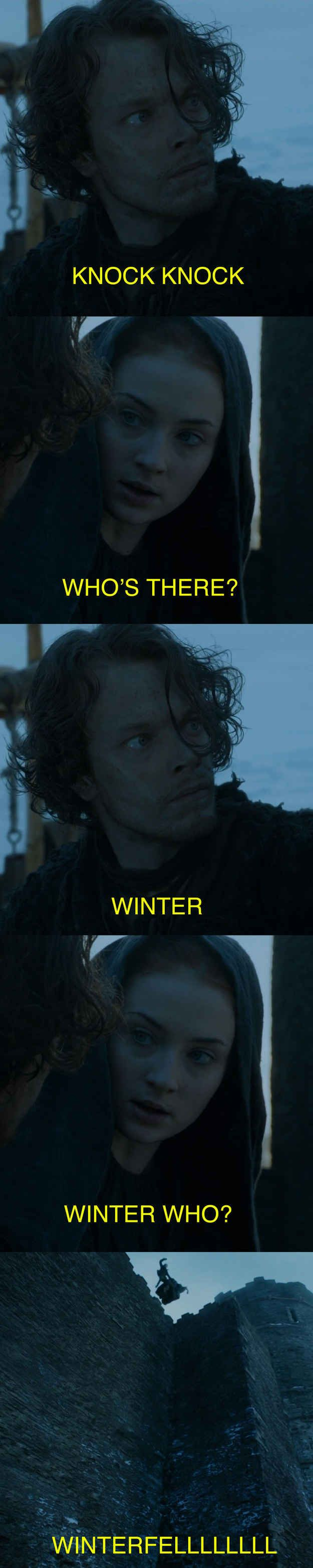 When Theon decided to lighten the mood with a joke.