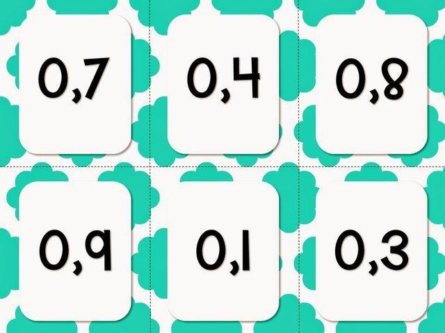 Bonjour! Aujourd'hui, je vous amène un document contenant 48 cartes à plastifier et à découper pour travailler les nombres décimaux (ordre croissant et décroissant, comparaison, sur la droite numériqu