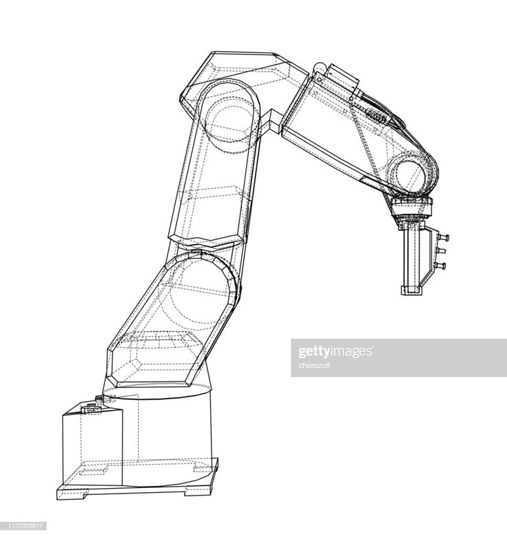 3D outline Robotic arm. Vector rendering of 3d. Wire-frame