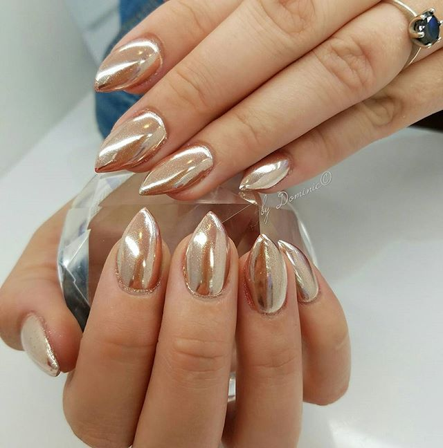 Rose gold chrome color Thank you Tif!!! :-) #bydominic #blackfilenail #trendy…