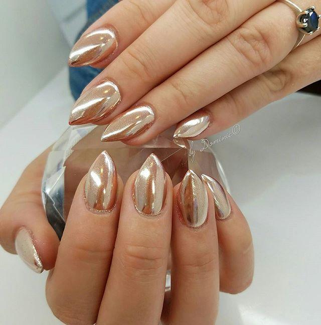 Rose gold chrome color Thank you Tif!!! :-) #bydominic #blackfilenail #trendy…