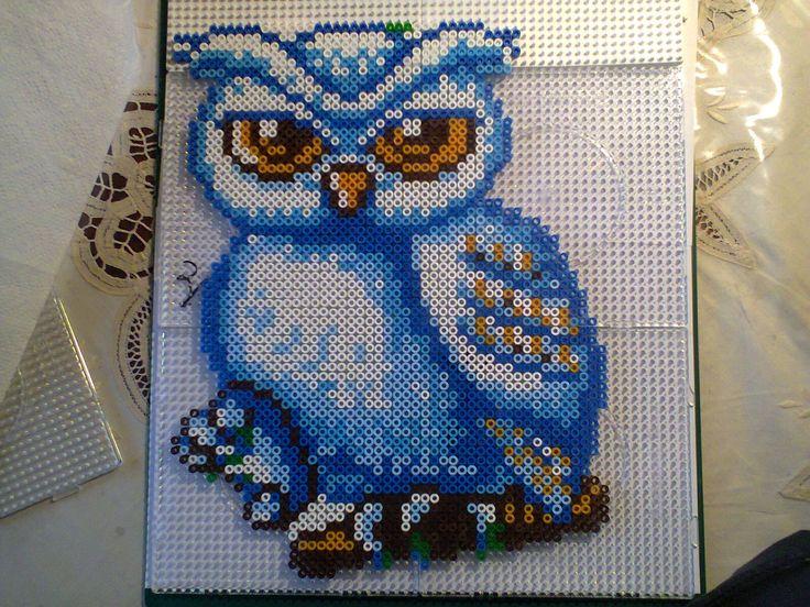 Owl hama beads by Marga van Dieken