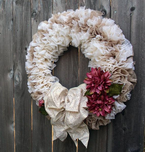 Romantic Victorian Style Cream Wreath for Front by KippsKorner
