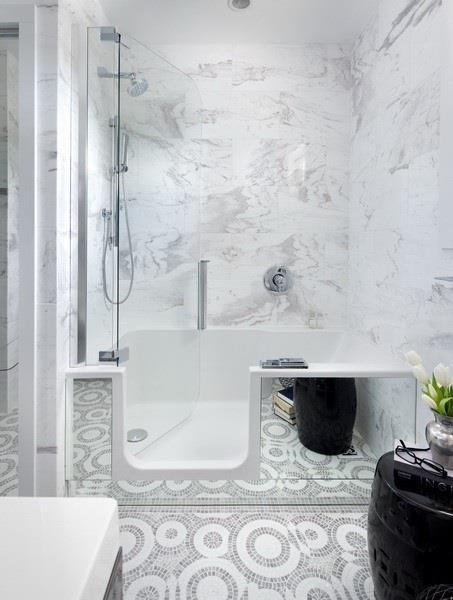 Bathroom with Marble wall tile and custom mosaic floor