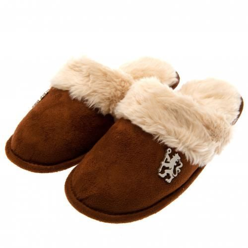 Ladies Chelsea mules slippers in size 3/4 with a soft lining, brown in colour and featuring a metal club crest badge. FREE DELIVERY on all of our gifts