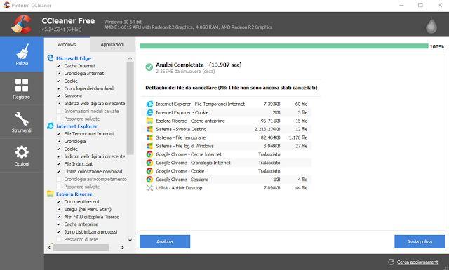 Programmi per la pulizia PC Windows 10