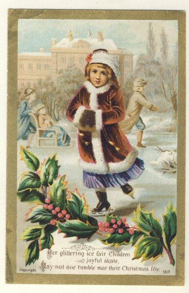 Victorian Antique Christmas Card Girl Ice Skating 700