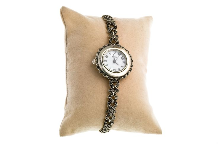 Free shipping silver watch with marcasite stones,gift for her,vintage watch by Mammastreasure on Etsy