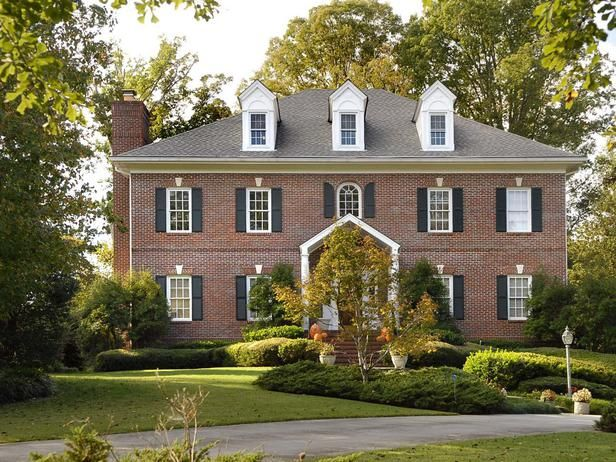 Brick federal style colonial home georgian homes - Colonial house exterior renovation ideas ...