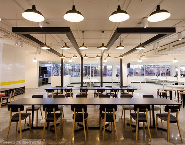 The BBC Worldwide Australia workplace that was fitted out by the Powerhouse Group features the Porta Venezia chairs by Infiniti, Bold Twin and Bold table bases by Pedrali with custom laminate table tops and Trinity coffee tables by Bella Wood Workshop, all supplied by Cafe Culture + Insitu.