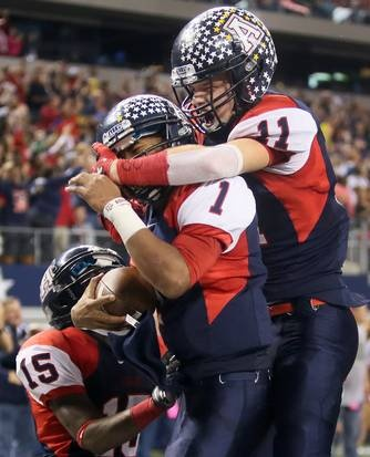 Allen quarterback Kyler Murray (1), wide receiver Cameron Calcote (15) and wide receiver Cole Carter (11) celebrate Murray's first of two long touchdown runs in the first half during the Class 5A Division I football state championship game between Allen High School Eagles and the Houston Lamar High School Redskins at Cowboys Stadium in Arlington on Saturday, December 22, 2012.