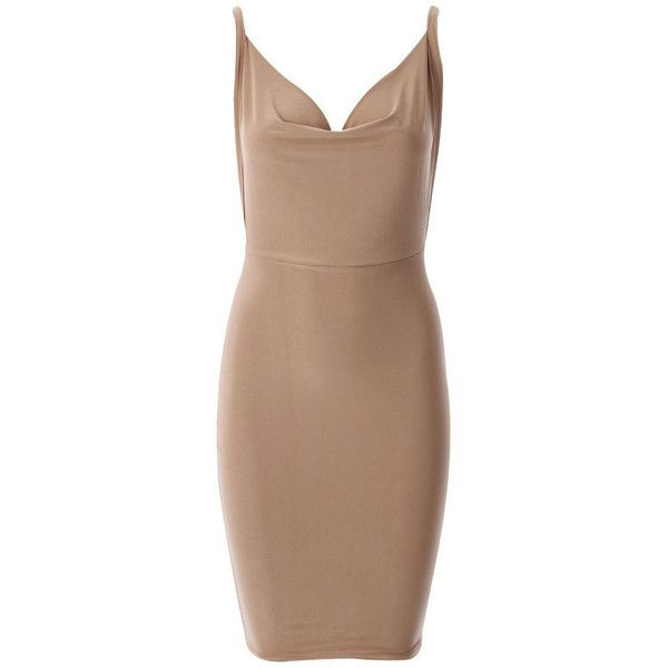 Nadine Split Dress ($61) ❤ liked on Polyvore featuring dresses, beige cocktail dress, sexy dresses, strappy dress, sexy backless dresses and surplice dress