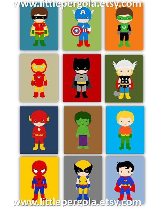 """Super-héros estampes / / Superhero pépinière Decor / / Art de super-héros pour les enfants / / Art de la Chambre des garçons / / 8 X 10"""" choisir cinq, cinq set de cinq (5)"""