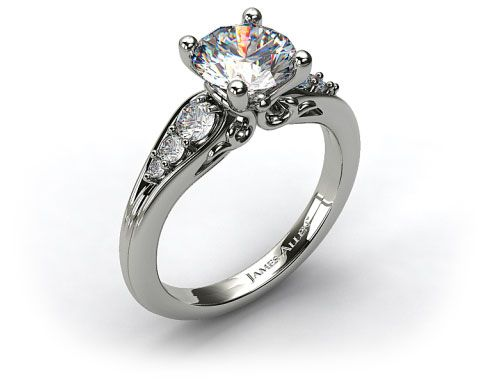18k White Gold Graduated Pave Swirl Engagement Ring - James Allen