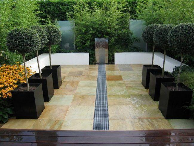 Lovely Bambus Garten pflanzen wasserspiel spiegel baume kuebel