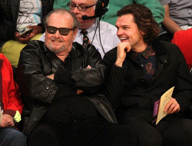 Jack Nicholson and his son, Raymond, watch the Los Angeles Lakers lose to the Oaklahoma City Thunder on Sunday, March 1.